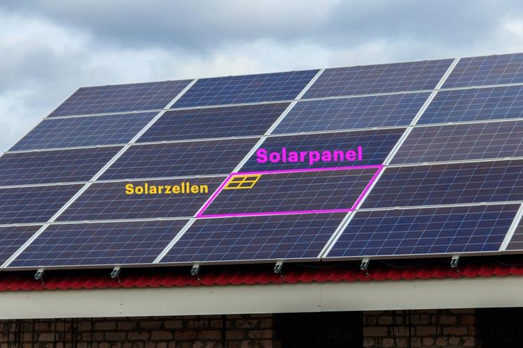 Solarmodul mit Solarzellen auf dem Dach